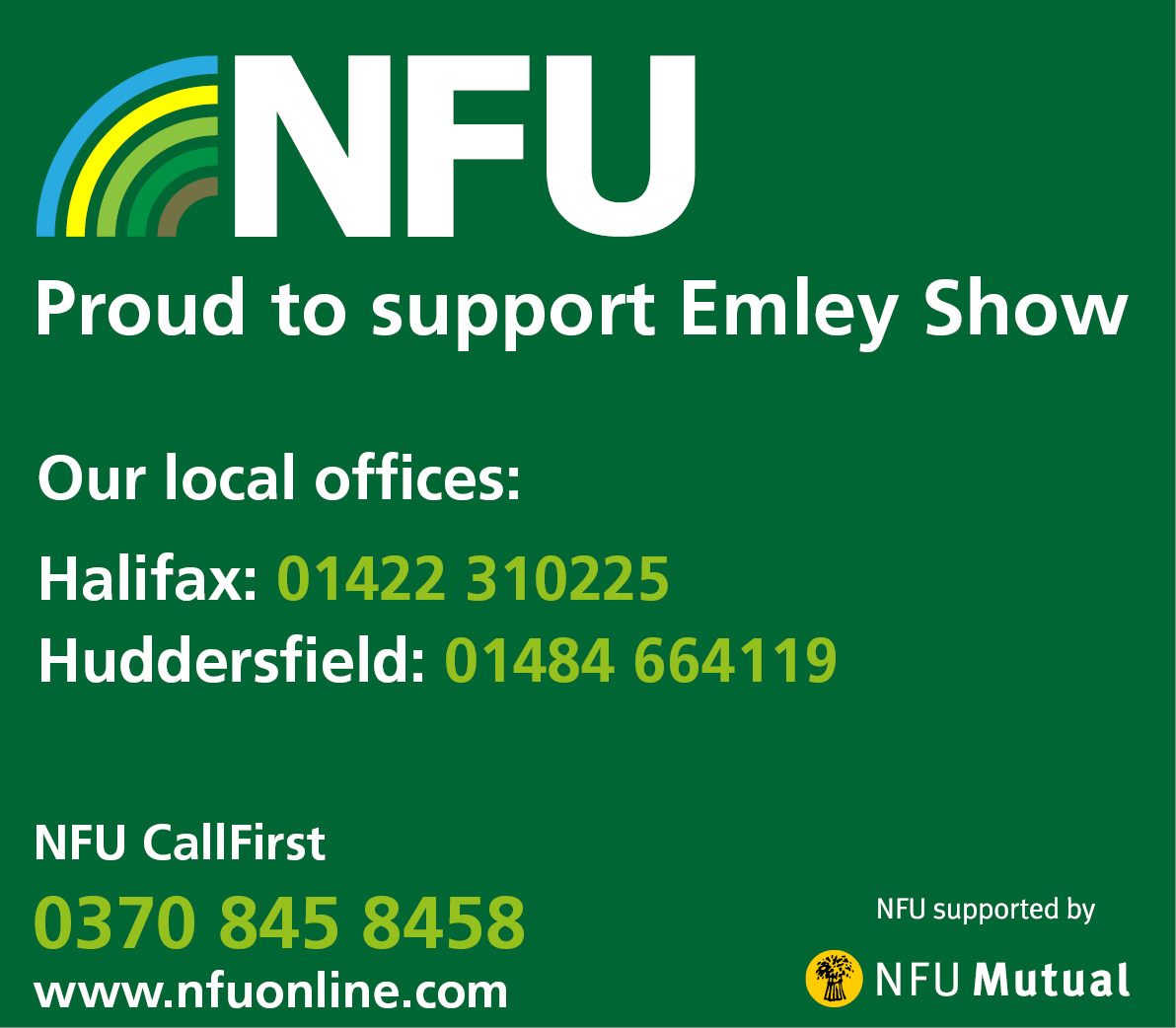 NFU - Proud to support Emley Show